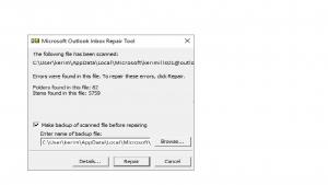 Outlook not responding, stuck at